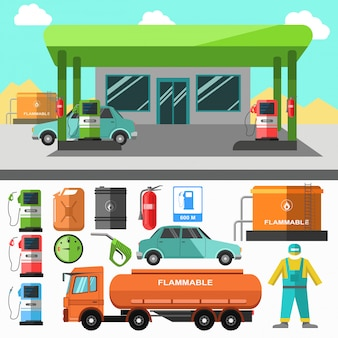 Ícones de posto de gasolina. símbolos de reabastecimento.