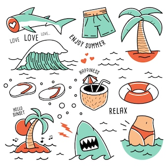 Ícones de praia verão mão desenhada doodle