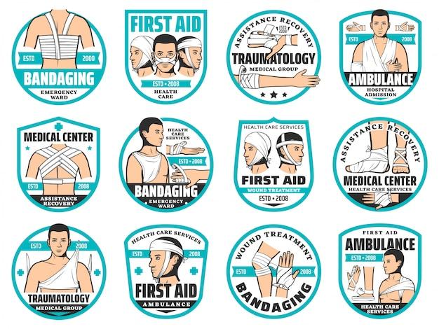 Ícones de primeiros socorros, bandagens, traumatologia e emergência