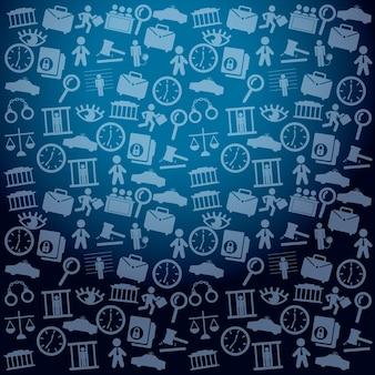 Ícones de prisão sobre ilustração vetorial de fundo azul