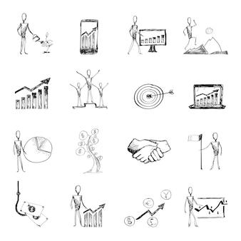 Ícones de processo de gerenciamento de esboço