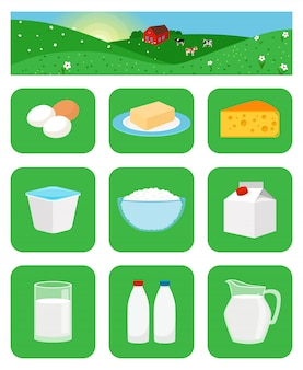 Ícones de produtos lácteos em quadrados verdes