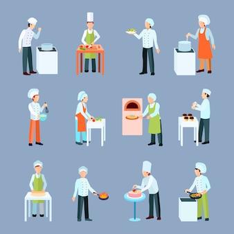 Ícones de profissão de cozinheiro conjunto com salada pizza e bolo fazendo plana