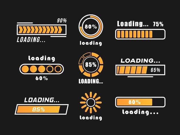 Ícones de progresso da barra de carregamento isolados em preto