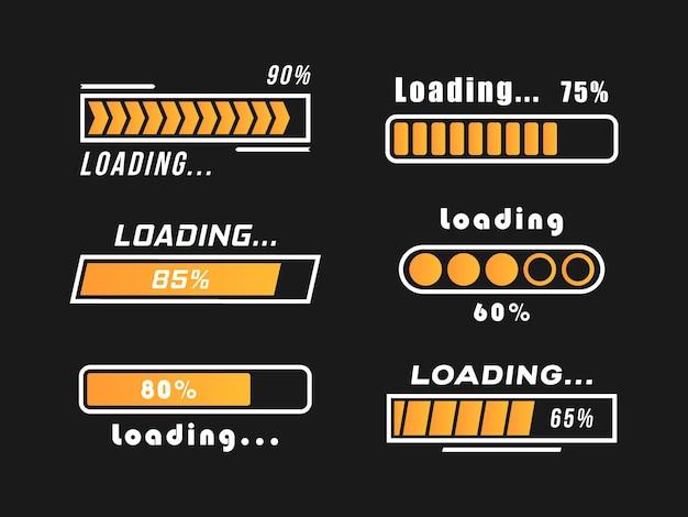 Ícones de progresso da barra de carregamento isolados em preto Vetor Premium