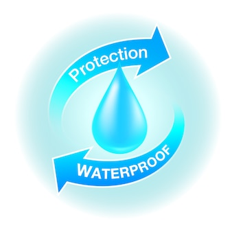 Ícones de proteção à prova d'água mídia realista sobre produtos resistentes.