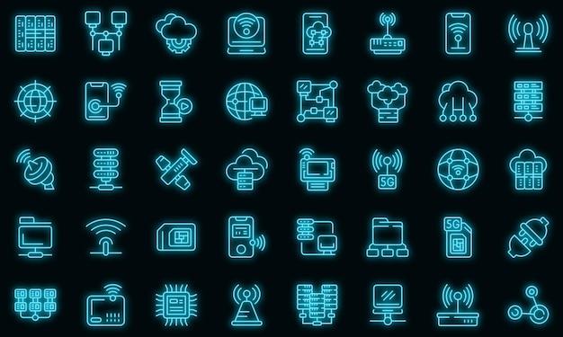 Ícones de provedor de internet definem vetor neon
