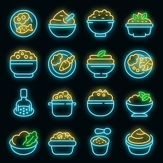 Ícones de purê de batatas configurados com néon de vetor