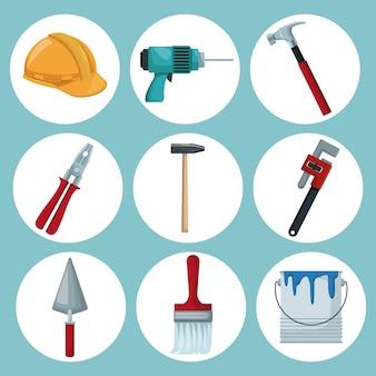 Ícones de quadros circulares de ferramentas de construção