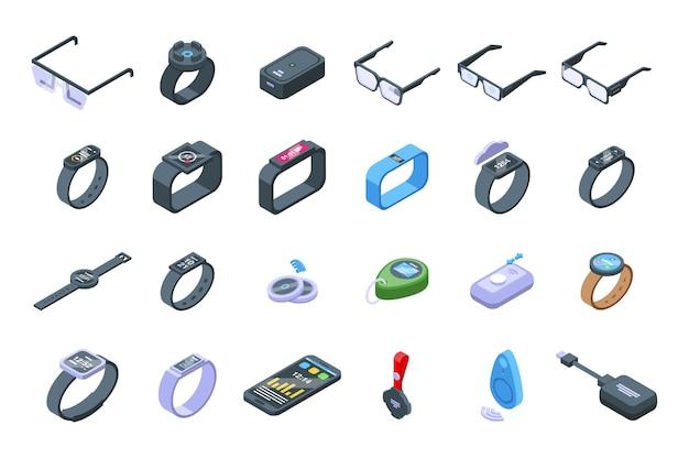 Ícones de rastreador wearable definir vetor isométrico. pulseira de fitness
