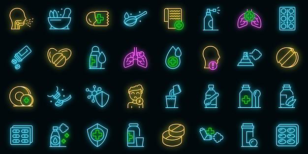 Ícones de rebuçados para tosse definem vetor de néon
