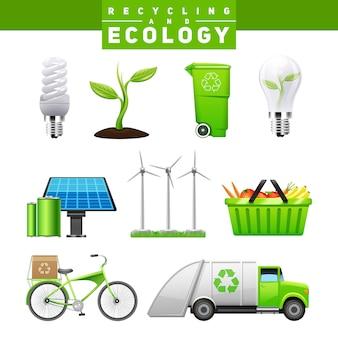 Ícones de reciclagem e ecologia