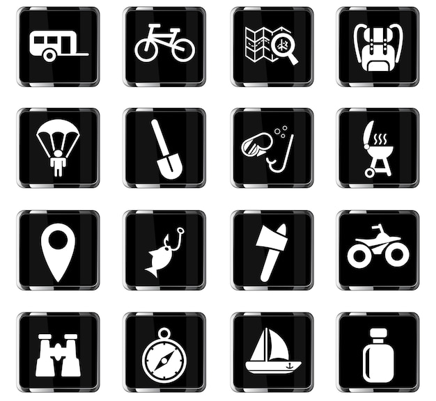 Ícones de recreação ativa da web para design de interface de usuário