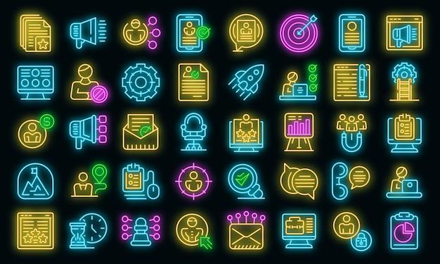 Ícones de recrutamento online definem vetor neon