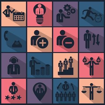 Ícones de recursos humanos e gerenciamento