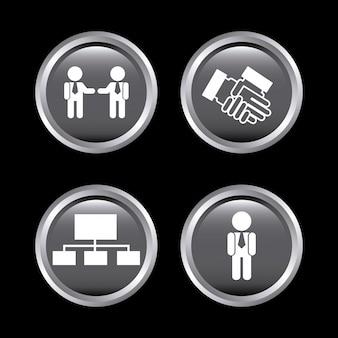 Ícones de recursos humanos sobre preto