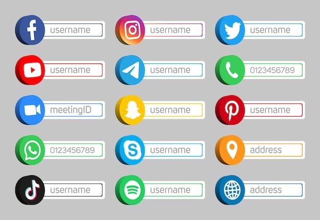 Ícones de rede de logotipos de mídia social 3d e sinais de internet definidos com caixa de nome de usuário