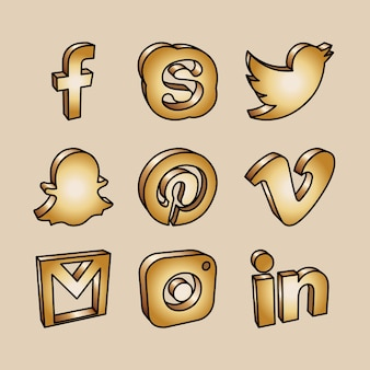 Ícones de rede de redes sociais de ouro