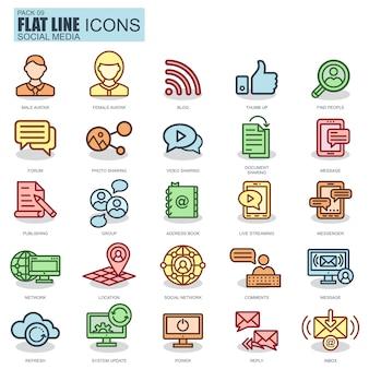 Ícones de rede social e rede social de linha fina