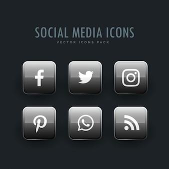 Ícones de redes sociais cinzentas no estilo de botão