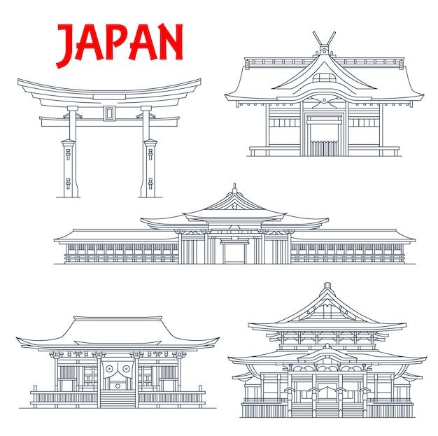 Ícones de referência do japão, templos em tóquio