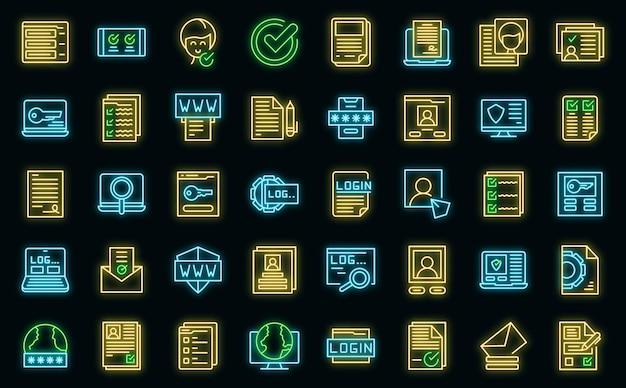 Ícones de registro definem vetor neon