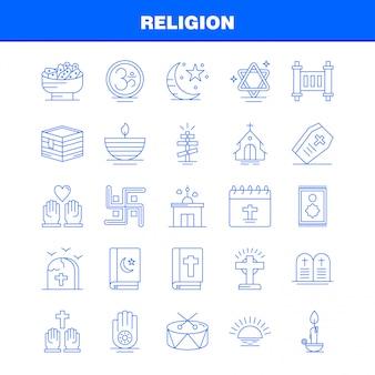 Ícones de religião linha definida para infográficos, kit de ux / ui móvel