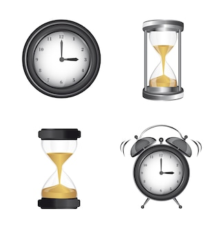 Ícones de relógio despertador e ampulheta sobre vetor de fundo branco