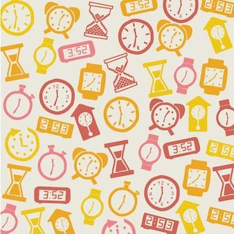 Ícones de relógio sobre ilustração vetorial de fundo bege