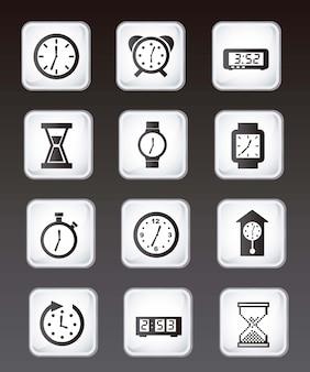 Ícones de relógio sobre ilustração vetorial de fundo preto