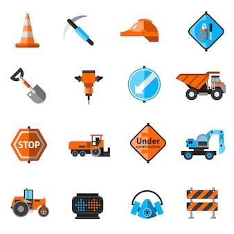 Ícones de reparação de estradas