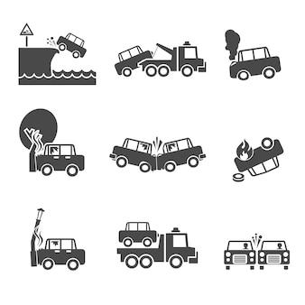 Ícones de reparação de viaturas