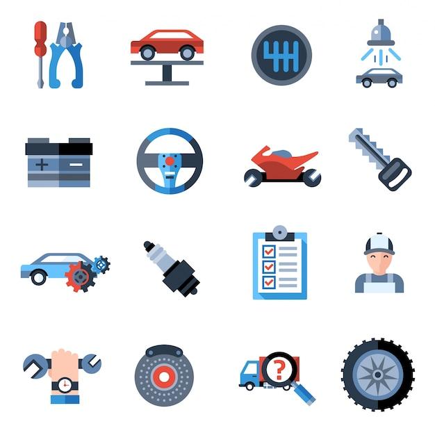 Ícones de reparo de carros