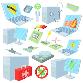 Ícones de reparo de computador em estilo cartoon
