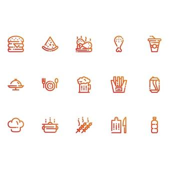 Ícones de restaurantes e alimentos