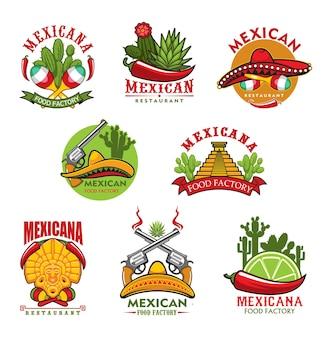 Ícones de restaurantes mexicanos, emblemas de desenhos animados com símbolos tradicionais do méxico