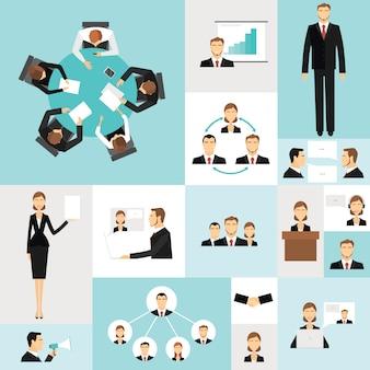 Ícones de reunião de negócios