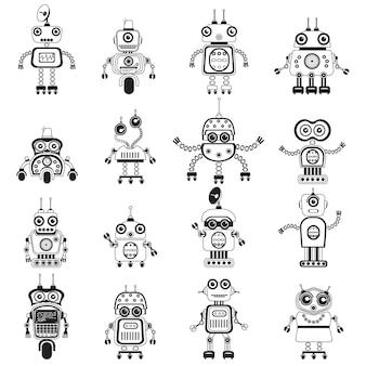 Ícones de robôs símbolos mono vetoriais robôs e ciborgues de estilo de design plano
