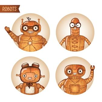 Ícones de robôs steampunk