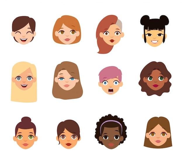 Ícones de rosto de emoji de mulher.