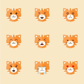 Ícones de rostos de gato sorridente