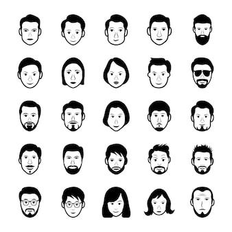 Ícones de rostos e avatares humanos