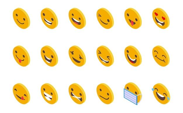 Ícones de rostos sorridentes definem vetor isométrico. cara feliz. sorriso fofo