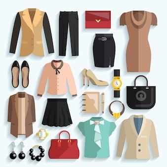 Ícones de roupa de mulher de negócios