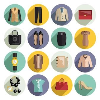 Ícones de roupa de mulher empresarial set