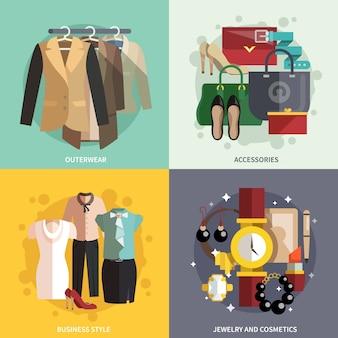 Ícones de roupa plana