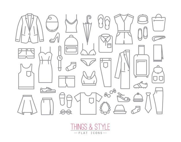 Ícones de roupas planas