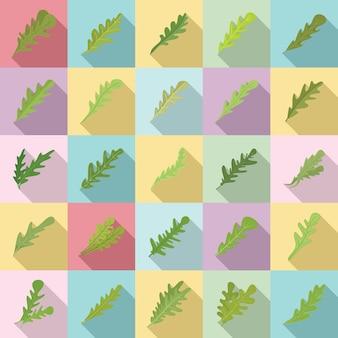 Ícones de rúcula definir vetor plana. salada de folhas
