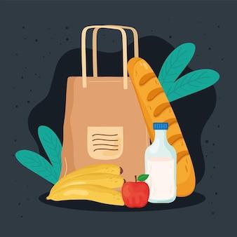 Ícones de sacolas e compras