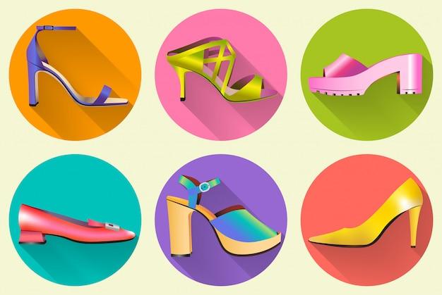 Ícones de sapatos de mulheres elegantes de moda
